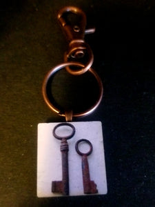 Old Keys Wood Tile Key Chain