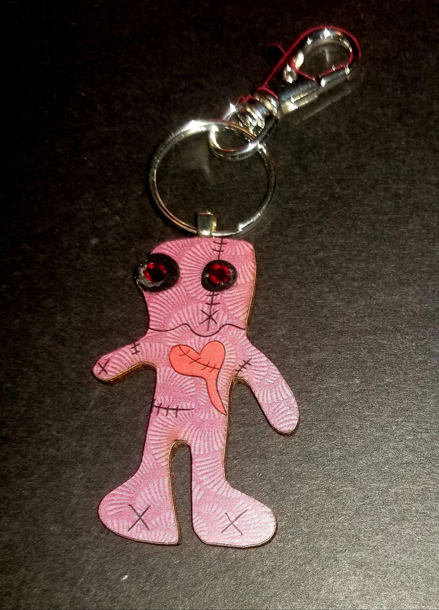 Red Voodoo Doll Wood Key Chain