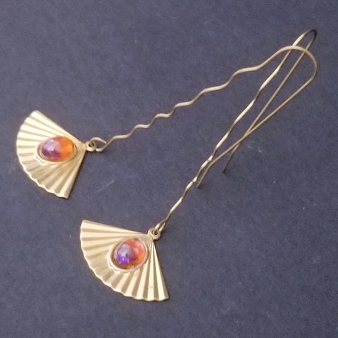 Fan Raw Brass Earrings