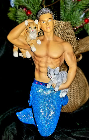 Pet The Puss Merman Ornament