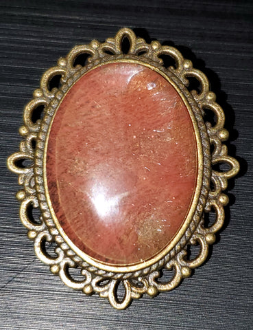 Cherry Quartz Brooch
