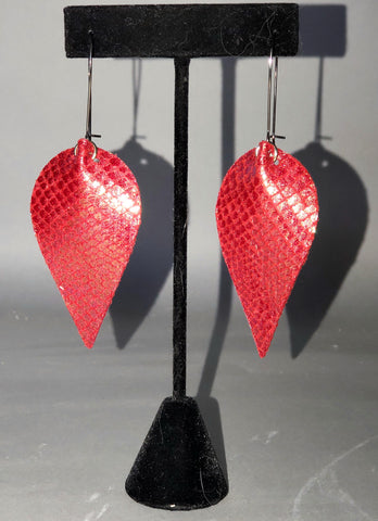 Red & Gold Scales Drop Earrings