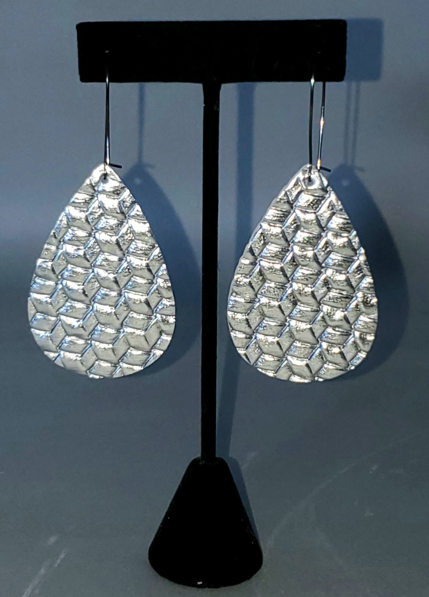 Silver Weave Drop Earrings