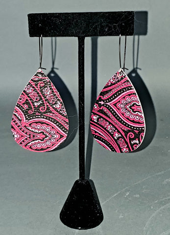 Dark Pink Paisley Drop Earrings
