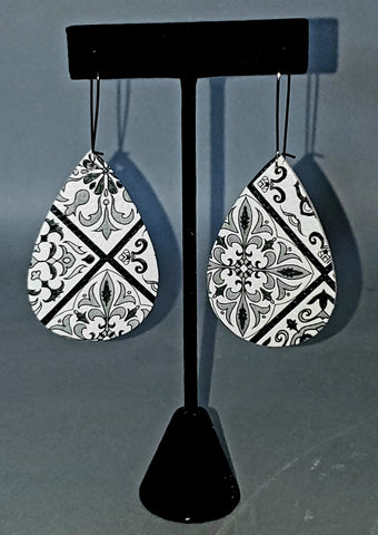 Mediterranean Tile Print Drop Earrings