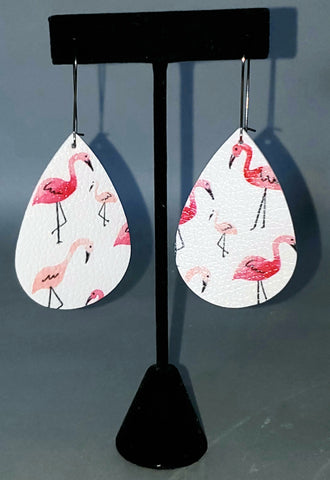 Flamingo Print Drop Earrings