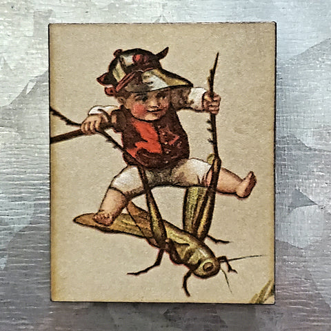 Victorian Boy Riding Grasshopper Magnet