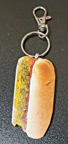 Hot Dog Wood Key Chain