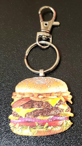Cheeseburger Wood Key Chain