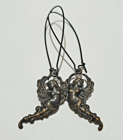 Victorian Faerie Noir Brass Earrings