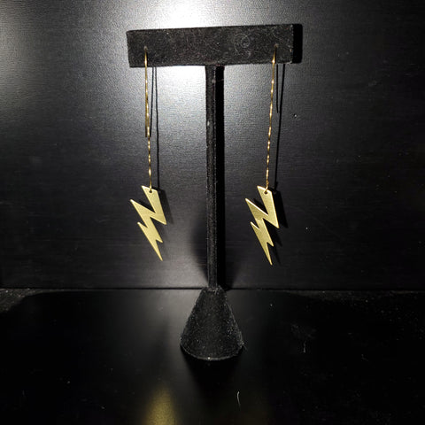 Lightning Bolt Raw Brass Earrings