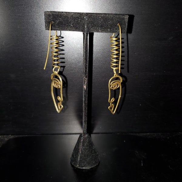 Retro Face Raw Brass Earrings
