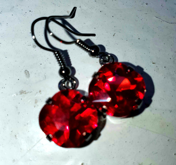 Siam Red Cushion Earrings