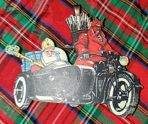 Vintage Krampus & Santa Ornament (road trip)
