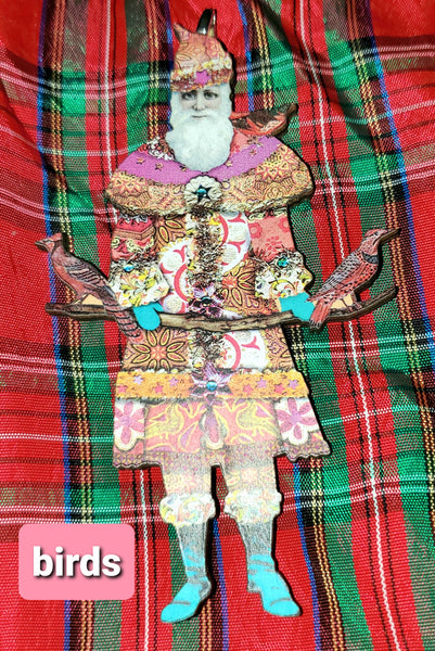 Folk Art Santa Ornaments