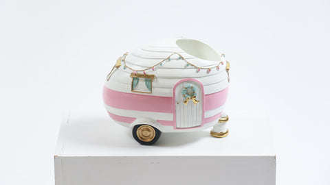 Pink Christmas Camper Wine Holder