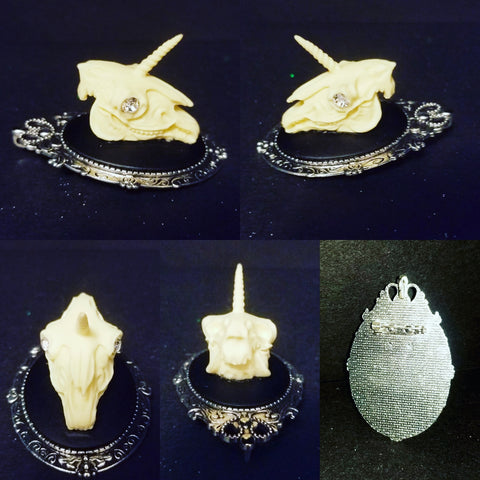 Unicorn Skull Brooch Pin