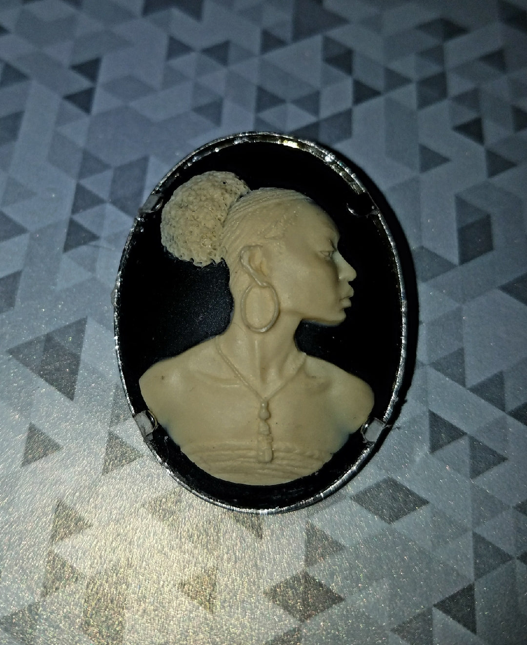 Lady of Colour Cameo Brooch
