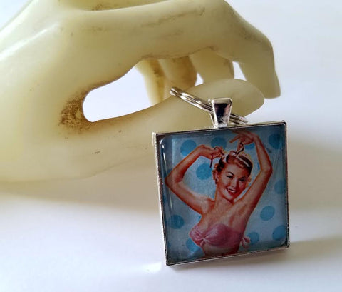 Blue Pinup Girl Cabochon Key Chain