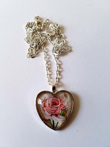 Pink Rose Cabochon Necklace