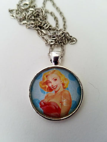 Blonde PinUp Cabochon Necklace