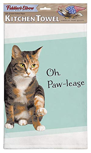 Fiddler's Elbow Oh, Paw-Lease Funny Cat Saying |100% Cotton Eco-Friendly Dish Towel | Kitchen Towel with Hanging Loop | Cat Dish Towel | Gift for Cat Lovers