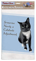 Fiddler's Elbow Someone Needs a Catatude Adjustment Funny Cat Saying |100% Cotton Eco-Friendly Dish Towel | Kitchen Towel with Hanging Loop | Cat Dish Towel | Gift for Cat Lovers