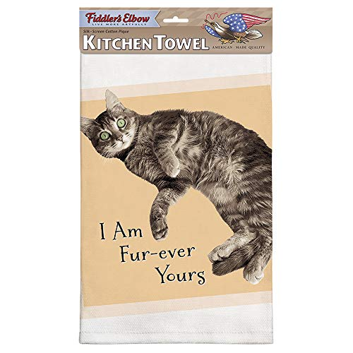 Fiddler's Elbow Fur-Ever Yours Cute Cat Saying |100% Cotton Eco-Friendly Dish Towel | Kitchen Towel with Hanging Loop | Cat Dish Towel | Gift for Cat Lovers