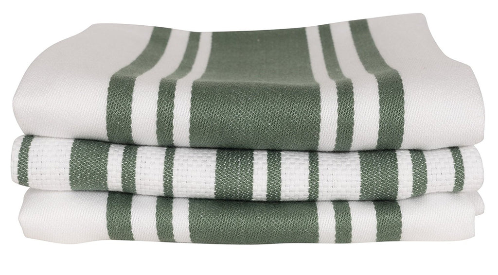 KAF Home Centerband/Basketweave/Windowpane - Set of 3 Kitchen Towels (Forest)