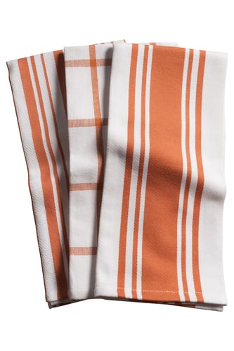 KAF Home Centerband/Basketweave/Windowpane - Set of 3 Kitchen Towels (Orange)