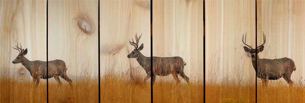 Deer Bucks Stags Wall Hanging Cedar Board Gizaun Art. Wood Art™ 33 by11