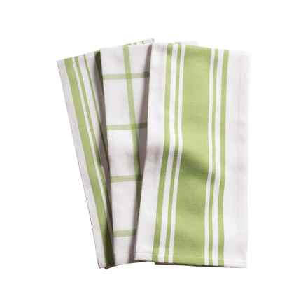 KAF Home Centerband/Basketweave/Windowpane - Set of 3 Kitchen Towels (Sprout)
