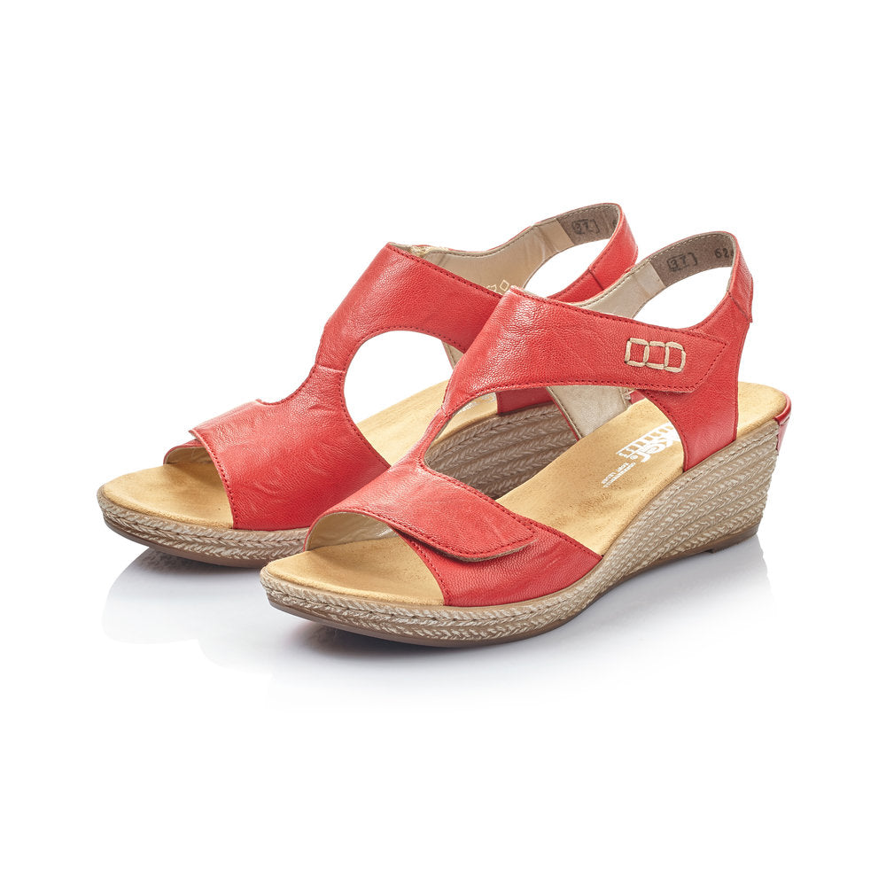 Rieker | 62468-33 | Wedge Sandals Red