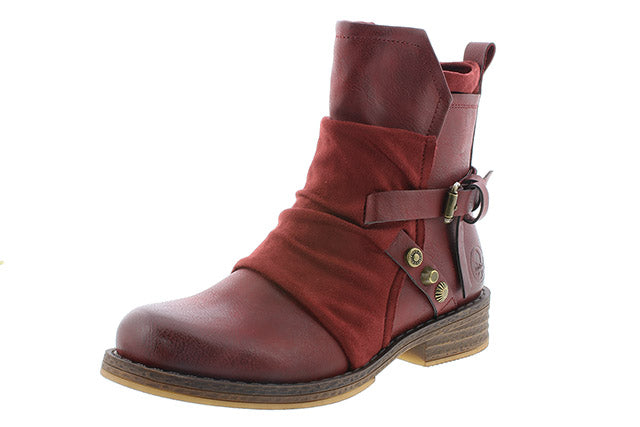 Ankle boots by Rieker burgundy colour