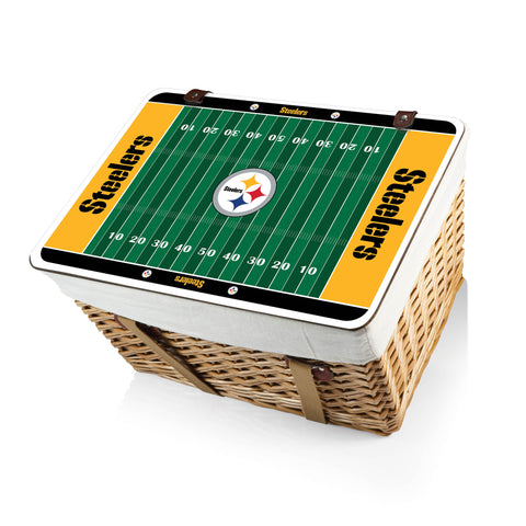 The Pittsburgh Steelers Canasta Grande NFL Basket - Picnic Time 119-00-190-254-2