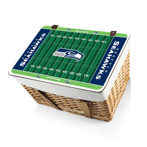 The Seattle Seahawks Canasta Grande NFL Basket - Picnic Time 119-00-190-284-2