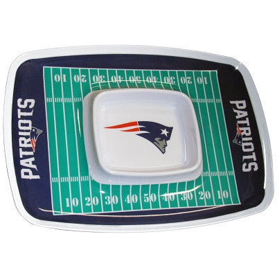 The New England Patriot Chip and Dip Tray with the Patriots NFL Logo