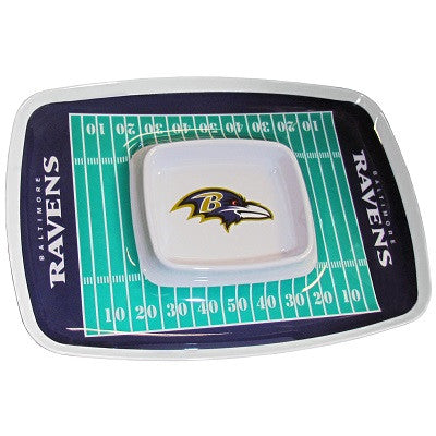 The Baltimore Raven Chip and Dip Tray with the Ravens NFL Logo