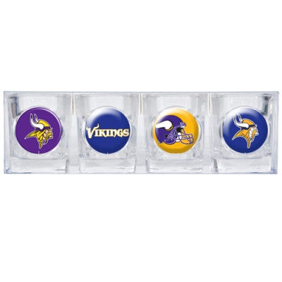 The Vikings Collector Shot Glass set - 4 pcs for Minnesota Viking fans