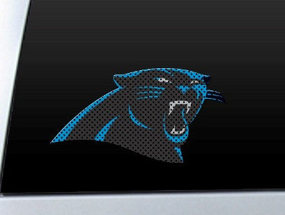 Carolina Panther Die Cut Perforated Window Decal Film in Panthers fan gear