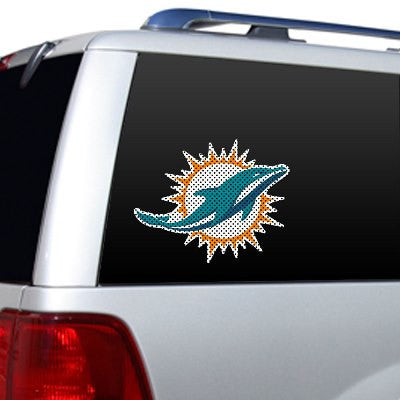 Miami Dolphin Die Cut Perforated Window Decal Film in Dolphins fan gear