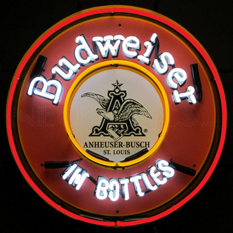 Neonetics Budweiser In Bottles Neon Sign With Backing - 5BUDBT