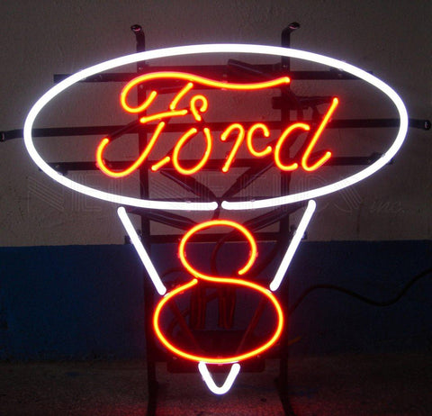 Neonetics 5FRDV8 - The Ford V8 Red And White Neon Sign