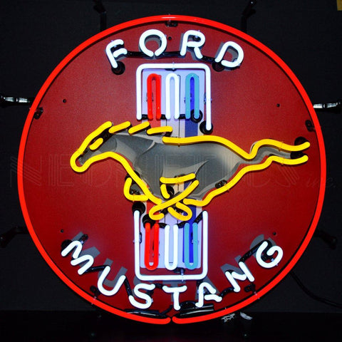 Neonetics Neonetics Ford Mustang Red Neon Sign With Backing - 5MUSTB