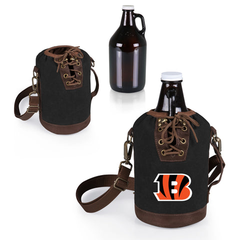 The Cincinnati Bengals Growler Tote with 64oz Glass Growler - Picnic Time 610-85-311-074-2