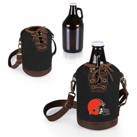 The Cleveland Browns Growler Tote with 64oz Glass Growler - Picnic Time 610-85-311-084-2