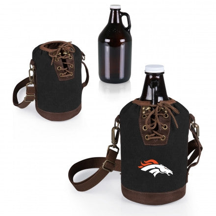 The Denver Broncos Growler Tote with 64oz Glass Growler - Picnic Time 610-85-311-104-2