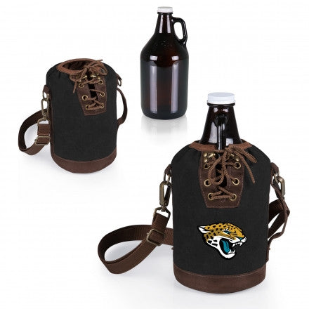The Jacksonville Jaguars Growler Tote with 64oz Glass Growler - Picnic Time 610-85-311-154-2