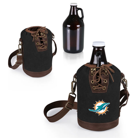The Miami Dolphins Growler Tote with 64oz Glass Growler - Picnic Time 610-85-311-174-2