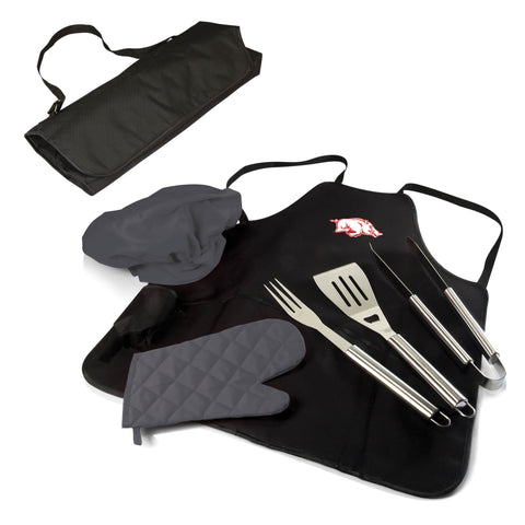 The Arkansas Razorbacks BBQ Apron Tote Pro Grill Tool Set